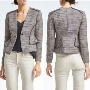 BANANA REPUBLIC Tweed Fringe Sequin Blazer